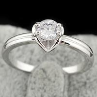 Gets® Finger Ring, Messing, platiniert, mit kubischem Zirkonia, frei von Nickel, Blei & Kadmium, 4mm, Größe:5, verkauft von PC