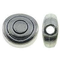 Zinklegierung flache Perlen, flache Runde, antik silberfarben plattiert, frei von Nickel, Blei & Kadmium, 6x6x3mm, Bohrung:ca. 1mm, ca. 2380PCs/kg, verkauft von kg