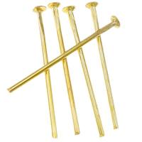 Messing Kopfstifte, goldfarben plattiert, frei von Nickel, Blei & Kadmium, 0.7x18mm, ca. 8330PCs/Tasche, verkauft von Tasche