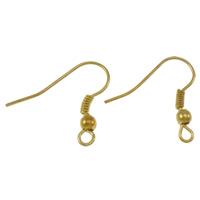Eisen Ohrhaken, goldfarben plattiert, mit Schleife, frei von Nickel, Blei & Kadmium, 18x19x3mm, Bohrung:ca. 2mm, ca. 83PaarePärchen/Tasche, verkauft von Tasche