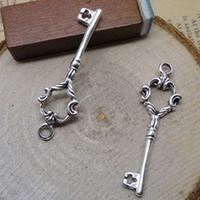Zinklegierung Schlüssel Anhänger, antik silberfarben plattiert, frei von Nickel, Blei & Kadmium, 11x35mm, Bohrung:ca. 1-3mm, 600PCs/Menge, verkauft von Menge