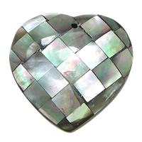 Natürliche schwarze Muschel Anhänger, Herz, Mosaik, 35x45.50x9mm, Bohrung:ca. 1.5mm, 10PCs/Menge, verkauft von Menge