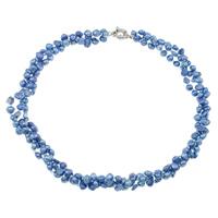Natürliche Süßwasserperlen Halskette, Natürliche kultivierte Süßwasserperlen, mit Glas-Rocailles, Messing Federring Verschluss, 2 strängig, blau, 3-8mm, verkauft per ca. 17 ZollInch Strang
