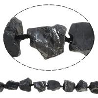 Natürliche Beschichtung Quarz Perlen, Natürlicher Quarz, Klumpen, metallschwarz plattiert, 19-30mm, Bohrung:ca. 2mm, Länge:ca. 15.7 ZollInch, 5SträngeStrang/Menge, ca. 15PCs/Strang, verkauft von Menge