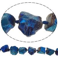 Natürliche Beschichtung Quarz Perlen, Natürlicher Quarz, Klumpen, 21-28mm, Bohrung:ca. 2.5mm, Länge:ca. 14 ZollInch, 5SträngeStrang/Menge, ca. 15PCs/Strang, verkauft von Menge
