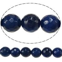 Natürliche blaue Achat Perlen, Blauer Achat, rund, facettierte, 10mm, Bohrung:ca. 1.5mm, Länge:ca. 15 ZollInch, 10SträngeStrang/Menge, 38/Strang, verkauft von Menge