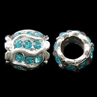 Strass Zinklegierung Perlen, Trommel, silberfarben plattiert, mit Strass, frei von Nickel, Blei & Kadmium, 12x12mm, Bohrung:ca. 6mm, 10PCs/Tasche, verkauft von Tasche