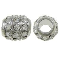 Strass Zinklegierung Perlen, Trommel, Platinfarbe platiniert, mit Strass, frei von Nickel, Blei & Kadmium, 12x11mm, Bohrung:ca. 6mm, 10PCs/Tasche, verkauft von Tasche