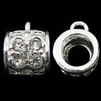 Zinklegierung Stiftöse Perlen, Rohr, silberfarben plattiert, mit Strass, frei von Nickel, Blei & Kadmium, 11x15x12mm, Bohrung:ca. 3mm, 10PCs/Tasche, verkauft von Tasche