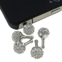 Kopfhöreranschluss Staubschutz-Stöpsel, Zinklegierung, Platinfarbe platiniert, mit Strass, weiß, frei von Nickel, Blei & Kadmium, 10x18mm, 10PCs/Tasche, verkauft von Tasche