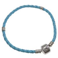 European Armband, Leder, Messing Europa Verschluss, Platinfarbe platiniert, blau, frei von Nickel, Blei & Kadmium, 2.5mm, Länge:ca. 7 ZollInch, 10SträngeStrang/Tasche, verkauft von Tasche