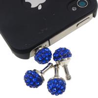 Kopfhöreranschluss Staubschutz-Stöpsel, Zinklegierung, Platinfarbe platiniert, mit Strass, blau, frei von Nickel, Blei & Kadmium, 10x18mm, 10PCs/Tasche, verkauft von Tasche