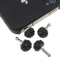 Kopfhöreranschluss Staubschutz-Stöpsel, Zinklegierung, Platinfarbe platiniert, mit Strass, schwarz, frei von Nickel, Blei & Kadmium, 10x18mm, 10PCs/Tasche, verkauft von Tasche