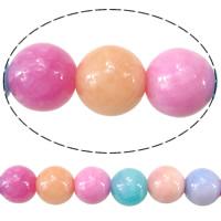 Marmor Naturperlen, gefärbter Marmor, rund, verschiedene Größen vorhanden, gemischte Farben, Bohrung:ca. 1.8mm, Länge:ca. 15.5 ZollInch, verkauft von Menge