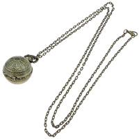 Mode Halskette Uhr, Zinklegierung, rund, antike Bronzefarbe plattiert, Oval-Kette & wasserdicht, frei von Nickel, Blei & Kadmium, 26x26mm, Länge:ca. 31.5 ZollInch, 10SträngeStrang/Menge, verkauft von Menge