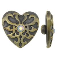 Zinklegierung Verbindungselement Komponente ausrichten, Herz, antike Bronzefarbe plattiert, mit Strass, frei von Nickel, Blei & Kadmium, 20x8mm, 5PCs/Tasche, verkauft von Tasche