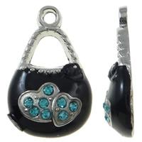 Zinklegierung Handtasche Anhänger, Platinfarbe platiniert, Emaille & mit Strass, schwarz, frei von Nickel, Blei & Kadmium, 12x20x4mm, Bohrung:ca. 2mm, 50PCs/Tasche, verkauft von Tasche