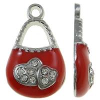 Zinklegierung Handtasche Anhänger, Platinfarbe platiniert, Emaille & mit Strass, rot, frei von Nickel, Blei & Kadmium, 12x20x4mm, Bohrung:ca. 2mm, 50PCs/Tasche, verkauft von Tasche