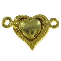 Zinklegierung Magnetverschluss, Herz, goldfarben plattiert, Einzelstrang, frei von Nickel, Blei & Kadmium, 20x13x6mm, Bohrung:ca. 1.5mm, 10PCs/Tasche, verkauft von Tasche