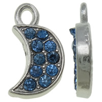 Zinklegierung Mond Anhänger, Platinfarbe platiniert, mit Strass, blau, frei von Nickel, Blei & Kadmium, 9x16x2mm, Bohrung:ca. 2x2.5mm, 100PCs/Tasche, verkauft von Tasche
