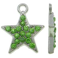 Zinklegierung Stern Anhänger, Platinfarbe platiniert, mit Strass, grün, frei von Nickel, Blei & Kadmium, 16x18.50x3mm, Bohrung:ca. 2mm, 100PCs/Tasche, verkauft von Tasche