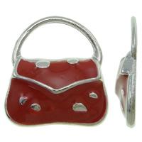 Zinklegierung Handtasche Anhänger, Platinfarbe platiniert, Emaille, rot, frei von Nickel, Blei & Kadmium, 15.50x18x3mm, Bohrung:ca. 11.5x6.5mm, 100PCs/Tasche, verkauft von Tasche