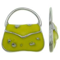 Zinklegierung Handtasche Anhänger, Platinfarbe platiniert, Emaille, gelb, frei von Nickel, Blei & Kadmium, 15.50x18x3mm, Bohrung:ca. 11.5x6.5mm, 100PCs/Tasche, verkauft von Tasche