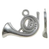 Musikinstrument Zinklegierung Anhänger, Musikalisches Instrument, Platinfarbe platiniert, frei von Nickel, Blei & Kadmium, 18.50x12.50x3mm, Bohrung:ca. 1mm, 100PCs/Tasche, verkauft von Tasche