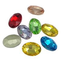 Kristall Eisen auf Nagelkopf, oval, Rivoli-Rückseite & facettierte, gemischte Farben, 10x14mm, 336PCs/Tasche, verkauft von Tasche