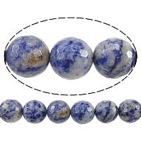 Blauer Tupfen Stein Perlen, blauer Punkt, rund, facettierte, 14mm, Bohrung:ca. 1.2-1.4mm, Länge:ca. 15 ZollInch, 5SträngeStrang/Menge, ca. 27PCs/Strang, verkauft von Menge