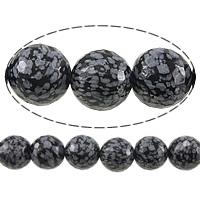 Schneeflocke Obsidian, rund, verschiedene Größen vorhanden & facettierte, 14mm, Bohrung:ca. 1.2-1.4mm, Länge:ca. 15 ZollInch, verkauft von Menge