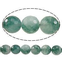 Natürliche Moos Achat Perlen, rund, facettierte, 12mm, Bohrung:ca. 1.5mm, Länge:ca. 15 ZollInch, 10SträngeStrang/Menge, ca. 32PCs/Strang, verkauft von Menge