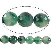 Natürliche Moos Achat Perlen, gefärbte Jade, rund, facettierte, 6mm, Bohrung:ca. 1mm, Länge:ca. 15 ZollInch, 10SträngeStrang/Menge, ca. 61PCs/Strang, verkauft von Menge