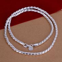 comeon® Schmuck Halskette, Messing, versilbert, Schlangekette, frei von Nickel, Blei & Kadmium, 4mm, verkauft per ca. 20 ZollInch Strang