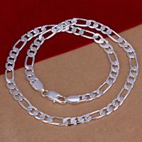 comeon® Schmuck Halskette, Messing, versilbert, Figaro Kette & Weitere Größen für Wahl, frei von Nickel, Blei & Kadmium, verkauft per ca. 20 ZollInch Strang