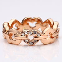 comeon® Finger-Ring, Zinklegierung, Herz, echtes Rósegold plattiert, Weitere Größen für Wahl & mit Strass, frei von Nickel, Blei & Kadmium, 6mm, verkauft von PC