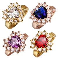 comeon® Finger-Ring, Messing, plattiert, mit 13 Stück Zirkonia, keine, frei von Nickel, Blei & Kadmium, 17x17mm, Größe:8, verkauft von PC