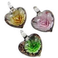 Innen Blume Lampwork Anhänger, Herz, handgemacht, Goldsand, gemischte Farben, 31x40x16mm, Bohrung:ca. 8x7mm, 12PCs/Box, verkauft von Box