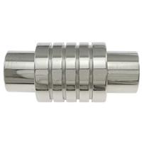 Edelstahl Magnetverschluss, Zylinder, originale Farbe, 21x10mm, Bohrung:ca. 6mm, 50PCs/Menge, verkauft von Menge
