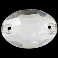 Glas Schmuckverbinder, flachoval, silberfarben plattiert, imitierter Strass & verschiedene Größen vorhanden & facettierte & 1/1-Schleife, Bohrung:ca. 0.5-1mm, 100PCs/Tasche, verkauft von Tasche