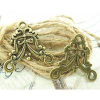Zinklegierung Schmuckverbinder, antike Bronzefarbe plattiert, 1/2-Schleife, frei von Nickel, Blei & Kadmium, 22x20mm, Bohrung:ca. 1-3mm, 800PCs/Menge, verkauft von Menge