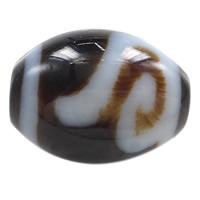 Natürliche Tibetan Achat Dzi Perlen, oval, Geld Haken & zweifarbig, 14.50x13x3mm, Bohrung:ca. 2mm, verkauft von PC