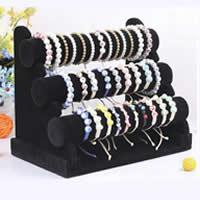 Baumwollsamt Armbandständer, mit Karton, schwarz, 250x310x170mm,50mm,300mm, 5PCs/Menge, verkauft von Menge