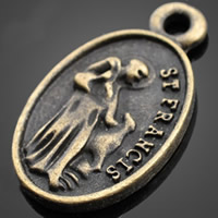 Zinklegierung flachovale Anhänger, antike Bronzefarbe plattiert, frei von Nickel, Blei & Kadmium, 15.30x26.30mm, Bohrung:ca. 1-3mm, 500PCs/Tasche, verkauft von Tasche