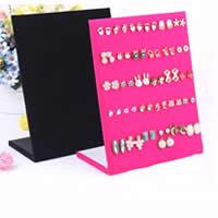 Baumwollsamt Ohrringständer, Gemischholz, mit Baumwollsamt, Rechteck, keine, 25x20cm, 7.5cm, 10PCs/Menge, verkauft von Menge