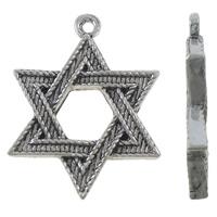 Zinklegierung Stern Anhänger, Stern von David, antik silberfarben plattiert, Jewelry Giúdach, frei von Nickel, Blei & Kadmium, 23x30x3.20mm, Bohrung:ca. 1.5mm, 10PCs/Tasche, verkauft von Tasche