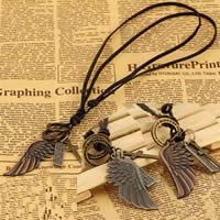 Rindleder Halskette, Zinklegierung, Flügelform, plattiert, unisex & einstellbar, gemischte Farben, frei von Nickel, Blei & Kadmium, 40-50mm, Länge:15-25 ZollInch, 20SträngeStrang/Tasche, verkauft von Tasche