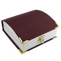 Leder Armbandkasten, Kunststoff, mit Leder & Zinklegierung, Rechteck, goldfarben plattiert, dunkelrot, 95x93x40mm, 24PCs/Menge, verkauft von Menge
