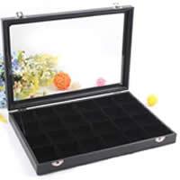 Multifunktionale Schmuck-Box, Karton, mit PU Leder & Baumwollsamt & Glas, Rechteck, 24 Zellen, schwarz, 350x240x45mm, verkauft von PC