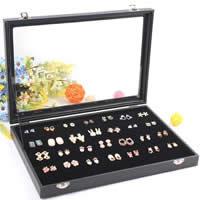 Ohrringe Kasten, Karton, mit PU Leder & Baumwollsamt & Glas, Rechteck, schwarz, 350x240x45mm, 2PCs/Menge, verkauft von Menge